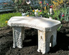 Small Curved Stone Bench, Curve Garden Bench, Cast Stone Bench, Castle Bench, Victorian outdoor bench, patio furniture, bistro set, small concrete bench, concrete bench, patio bench, stone bench