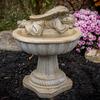 Concrete American Made, hand sculpted stone, Angel one piece birdbath, athena garden bird bath, concrete decorative angel, small angel birdbath, concrete angel, Birdbath with Resting Angel