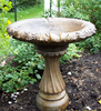 Small Fancy Column cast stone bird bath, athena garden classical bird bath, two piece ornate statuary