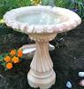 outdoor small garden bird bath, Small Fancy Column cast stone bird bath, athena garden classical bird bath, two piece ornate statuary