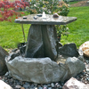 large stone fountain, garden fountain, sculpted fountain, falling water, garden fountain, concrete fountain, patio water feature, patio fountain, large fountain