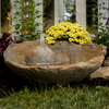 Cast Stone, hand sculpted, Concrete Water Feature, two piece Fountain, concrete fountain, stone water fountain, round concrete fountain, cast stone outdoor fountain