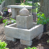 stone sphere fountain, concrete fountain, stone fountain, garden fountain, outdoor water feature