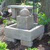 stone sphere fountain, concrete fountain, stone fountain, garden fountain, outdoor water feature