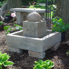 cement water fountain, stone sphere fountain, concrete fountain, stone fountain, garden fountain, outdoor water feature