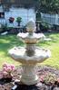 Outdoor fountain, concrete fountain, large tier fountain, flowering tier fountain, cast stone fountain, large garden fountain
