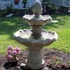 patio fountain, outdoor fountain, concrete fountain, large tier fountain, flowering fountain, large tier fountain
