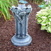 garden decor, hand sculpted gazing ball stand, cast stone, The Roman column & scrolls add a touch of European flare to your garden. Purchase a Glass Gazing