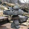 concrete bird bath, Calgary Rock Rock Balancing Bird bath sculpture, Natural balancing rocks