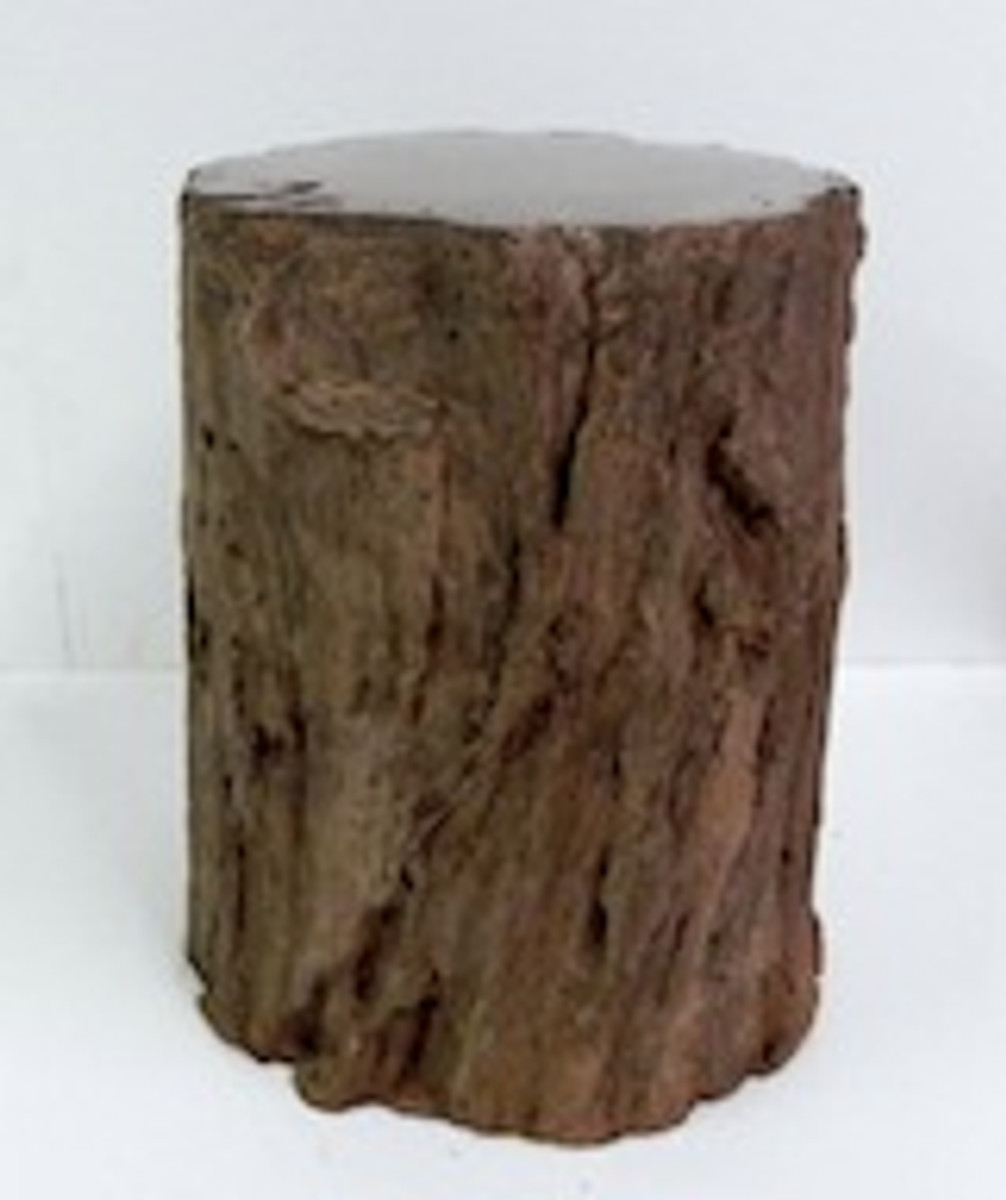 """Cast Stone, Fossilized Stone Bench """"Petrified Wood Table"""""""