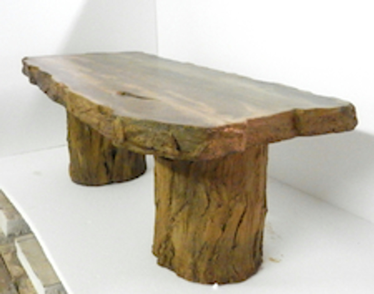 concrete patio bench, outdoor table, coffee table, concrete table, outdoor bench, garden bench, wood bench, fossilized wood, tree stump, cast stone bench