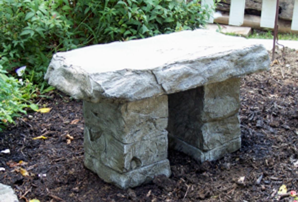 """Concrete bench, """"Granite Bench"""" Memorial Garden Bench, Handsculpted stone Bench, Concrete bench, Rock Bench, concrete patio furniture, light weight garden bench"""
