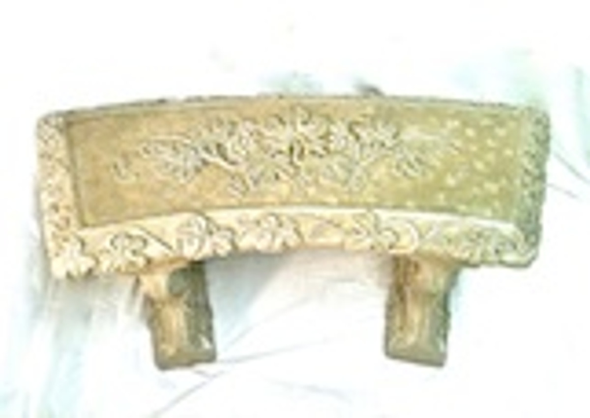 Concrete bench, Small Grapevide Curved Bench, Decorative Bench, Ivy stone bench, Garden bench