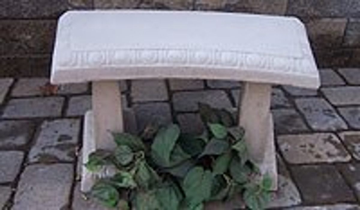 concrete garden bench, concrete bench, stone bench, meditation bench, cast stone bench, small garden bench, patio furniture