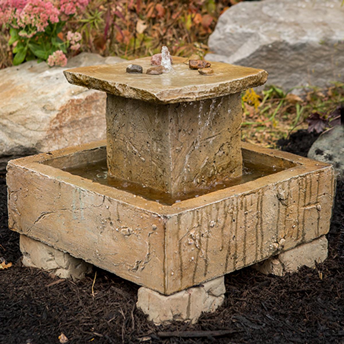 cast stone fountain, cement fountain, Small Cascade Fountain, Garden Fountain, Rock Fountain, Concrete fountain