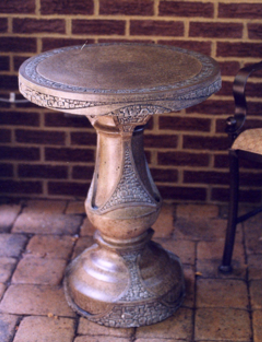Concrete outdoor patio round patio table, This patio table is the perfect size for morning coffee and makes a great bistro set! Surprisingly compatible with so many styles of furniture & decor.  • 2 Piece Patio Table • Made of Glass Fiber Reinforced Concrete (GFRC) • Multiple colors available (color Sandstone - SS)