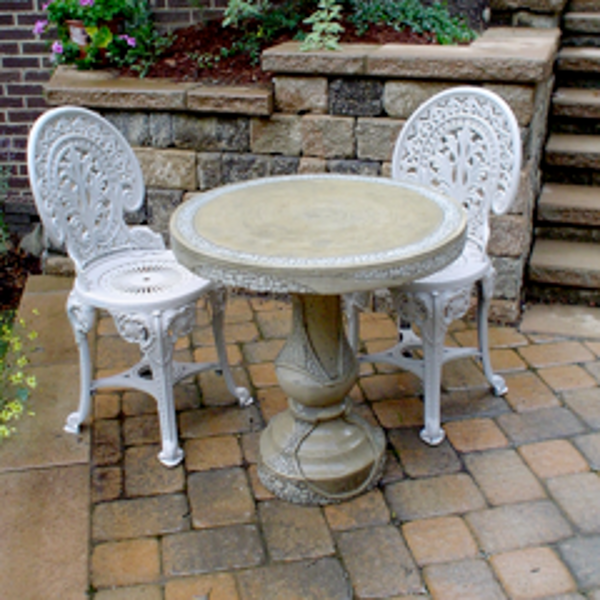 Cement outdoor patio table, This patio table is the perfect size for morning coffee and makes a great bistro set! Surprisingly compatible with so many styles of furniture & decor.  • 2 Piece Patio Table • Made of Glass Fiber Reinforced Concrete (GFRC) • Multiple colors available (color Sandstone - SS)