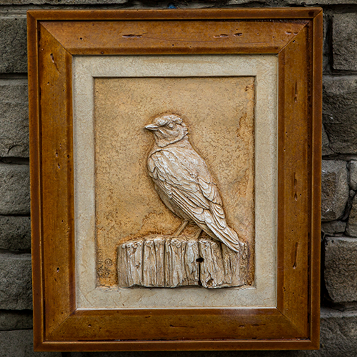 """Stone Picture """"Blue Bird on Perch"""""""