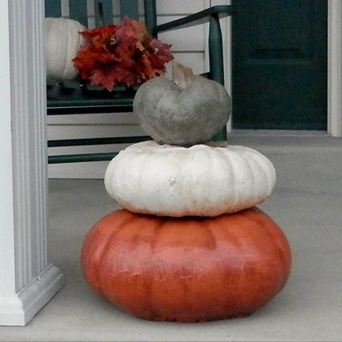 Fall Decoration, autumn decor, stone sculpture, Halloween, Outdoor, Jack O'lantern, Stone Planter Planter, Potted mum, Garden statuary Indoor pumpkin stack, Thanksgiving decoration, Pumpkin Planter, Orange pumkin stack, Green Stem