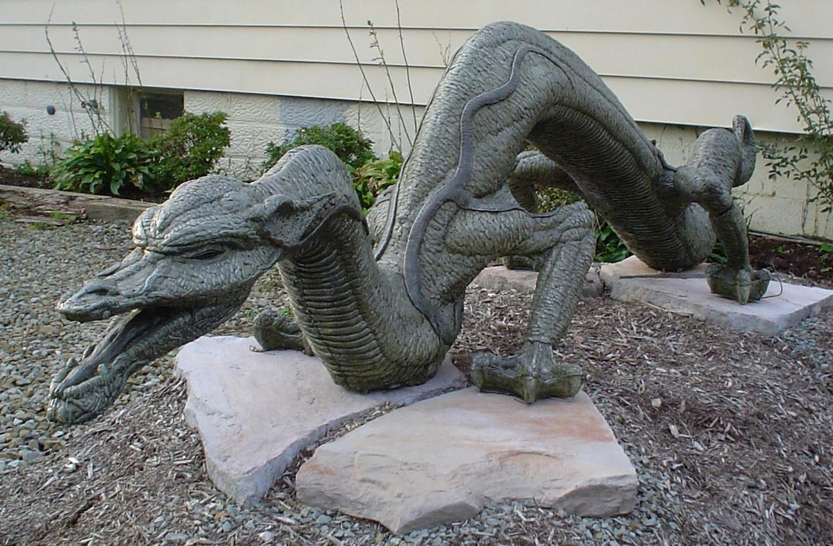 concrete dragon, cast stone dragon, dragon sculpture, outdoor stone dragon, hand sculpted dragon, dragon sculpture, large dragon sculpture