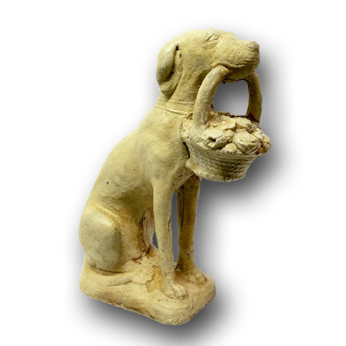 BR-016 Concrete Dog Sculpture with basket