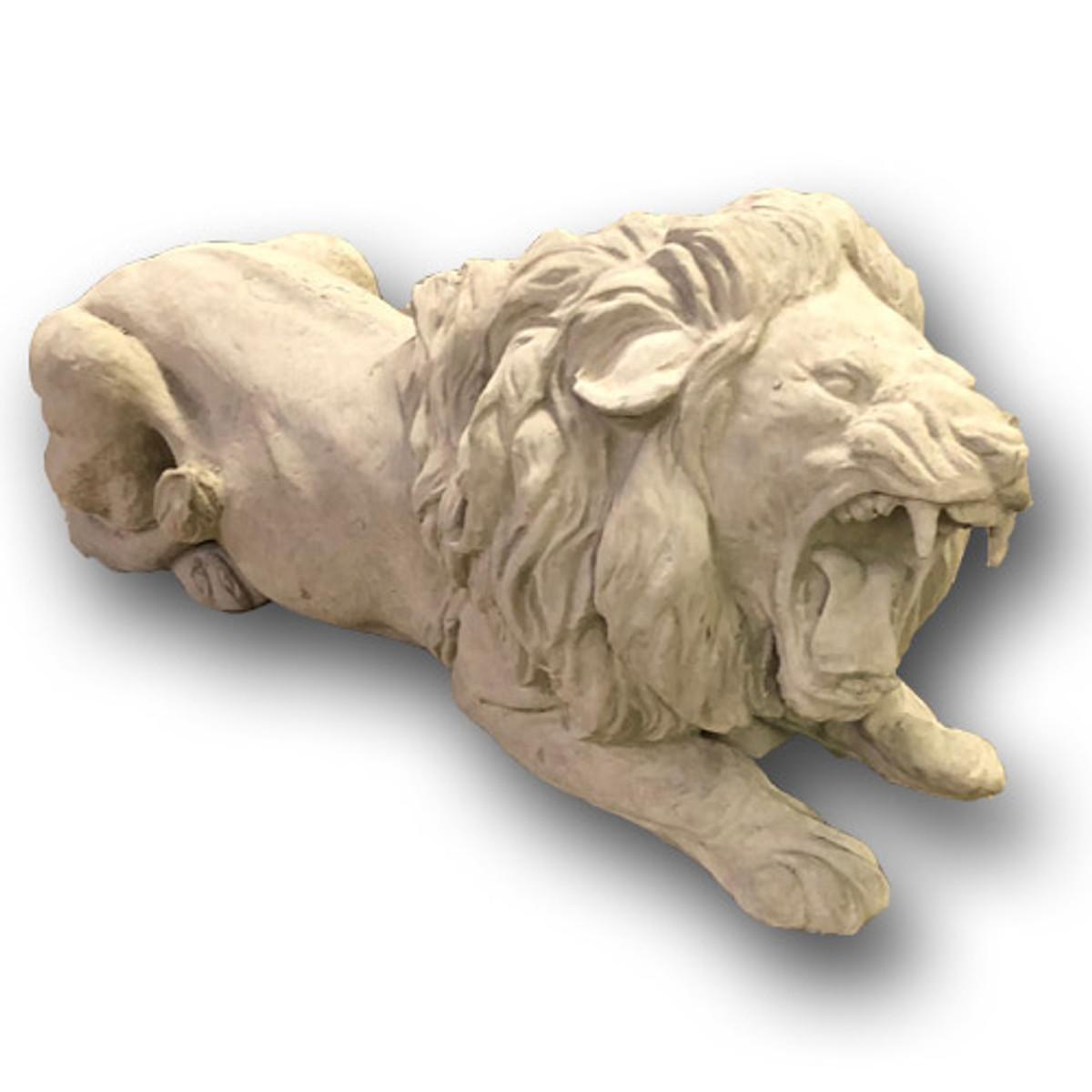 Cast Large Stone Roaring Lion Sculpture