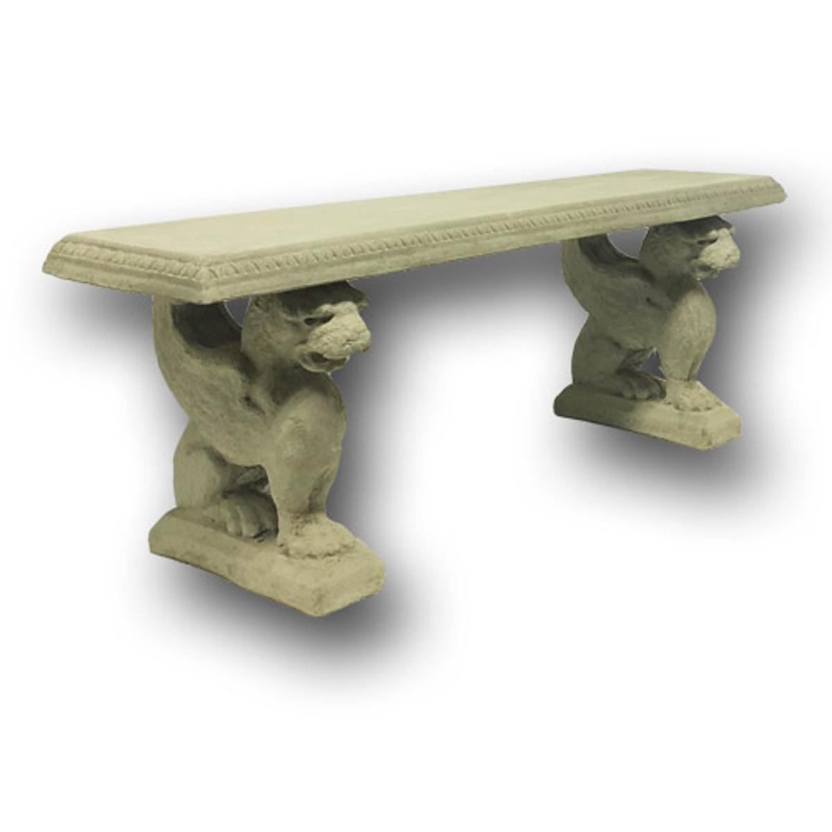 Griffin Cast Stone Concrete Bench (BR-223)