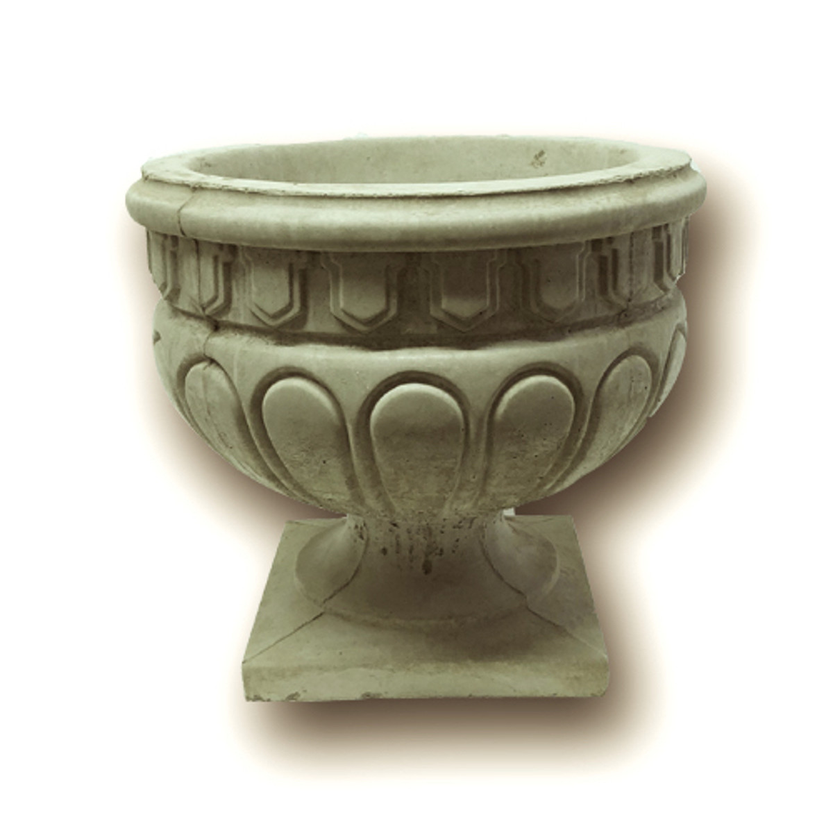 Classical looking Stone Urn has plenty of planting space with drainage.
