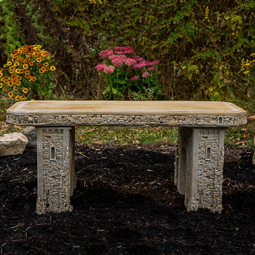 Straight Stone Garden Bench, Cast Stone Bench, Garden Rock Bench, Classical Garden Bench, Victorian outdoor furniture