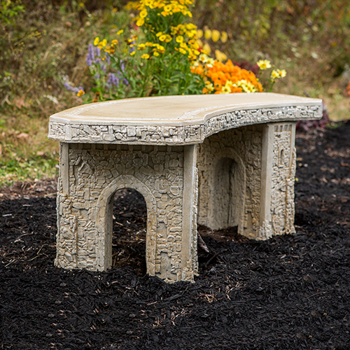 Large Cast Stone Curve Bench, Athena Garden Romanesque style memorial bench, Tuscan stone garden bench,Outdoor Lawn and Garden Athena Garden Tuscan Decorative Bench, Large Cast stone Bench, Curved Garden Bench
