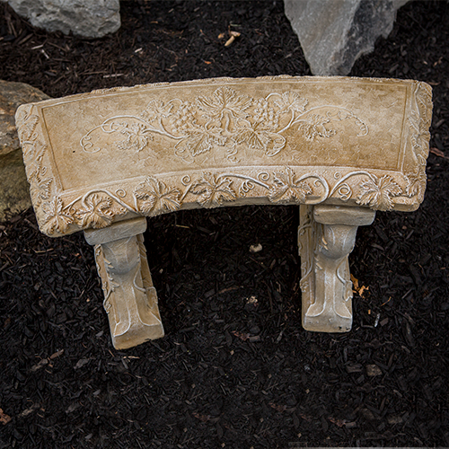 Small Grapevide Curved Bench, Decorative Bench, Ivy stone bench