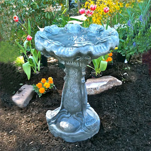 "Concrete, Cast Stone, Large Garden Water Feature, Sculpted, Flowering Bird bath, Athena Garden hand sculpted birdbath, cast stone ornate statuary, bird bath staturary, bird bath sculpture IMG_1201.jpg"" alt=""Flowering Hand Sculpted Birdbath"