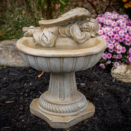 "Concrete American Made, hand sculpted stone, Angel one piece birdbath, athena garden bird bath, concrete decorative angel, small angel birdbath, concrete angel bird bath IMG_1551.jpg"" alt=""Birdbath with Resting Angel"