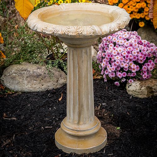 Fancy Column Cast Stone Bird Bath Athena Garden, Two piece sturdy cast stone birdbath, concrete bird bath, water feature, romanesque style water feature, classical bird bath, Fancy Column Cast Stone Bird Bath Athena Garden, Two piece sturdy cast stone birdbath, concrete bird bath, water feature, romanesque style water feature, classical bird bath