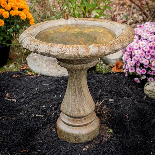"concrete bird bath, hand made, U.S.A, Small Fancy Column cast stone bird bath, athena garden classical bird bath, two piece ornate statuary IMG_1559.jpg"" alt=""Small Column Birdbath"