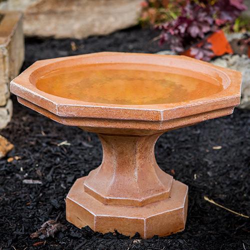 outdoor water feature, Small Octagon Bird bath Athena Garden Cast Stone, Concrete Bird Baths, contemporary Stone Bird Baths, Terracotta Bird Baths