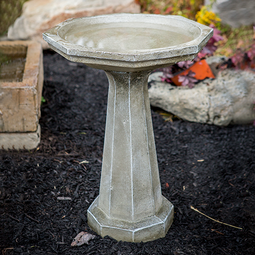 concrete bird bath, sculpted, Large Octagon bird bath, contemporary one piece bird bath, modern one piece bird bath, modern birdbath, concrete staturary