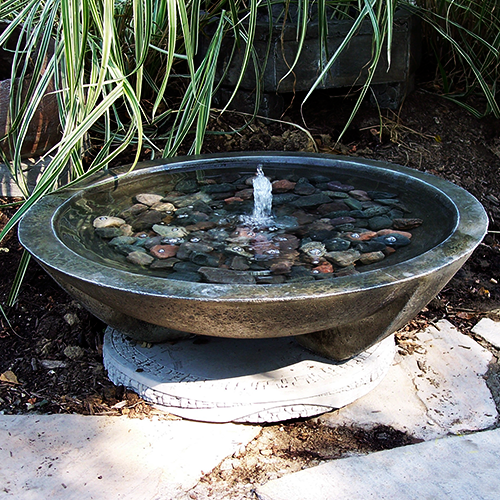 "Cast Stone Round Garden water feature, Lg. Mirror Fountain Shale (SH) Detail image, Athena Garden Fountains, lg. mirror fountain.jpg"" alt=""Stone Fountain, Garen Fountain, Water feature, Tiered pondless feature, pondless water fountain, BirdBaths"