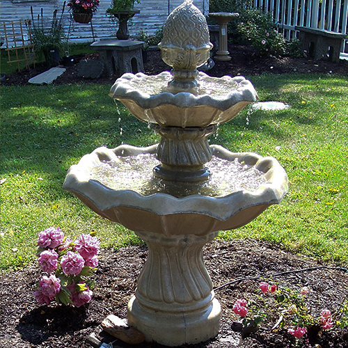 """Athena's Fowering Two Tier Fountain, Concrete tiered fountain. Garden water feature"