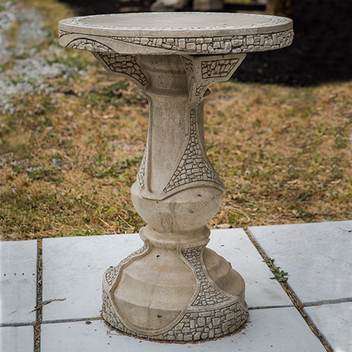 This patio table is the perfect size for morning coffee and makes a great bistro set! Surprisingly compatible with so many styles of furniture & decor.  Concrete table, outdoor patio furniture, • 2 Piece Patio Table • Made of Glass Fiber Reinforced Concrete (GFRC) • Multiple colors available (color Sandstone - SS)
