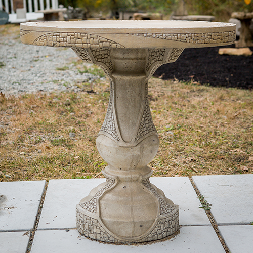 Concrete outdoor table, This patio table is the perfect size for morning coffee and makes a great bistro set! Surprisingly compatible with so many styles of furniture & decor.  • 2 Piece Patio Table • Made of Glass Fiber Reinforced Concrete (GFRC) • Multiple colors available (color Sandstone - SS)