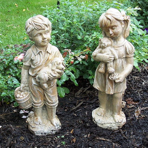 concrete garden statues, Jack and Jill statue, garden decor, boy and girl concrete statues, outdoor decor statuary, cement jack and jill