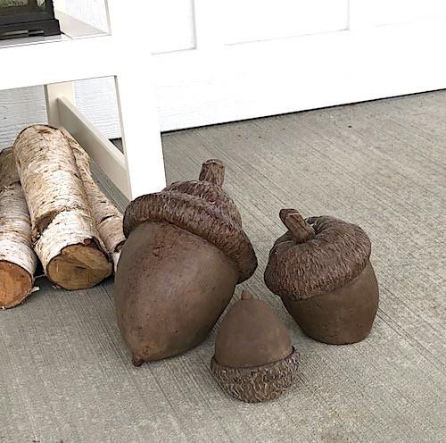 Concrete Cast Stone Acorns Set of 3  Concrete Acorn, Garden Decor Nuts, Antique Acorns, Grinding Millstone, Colonial Millstone.