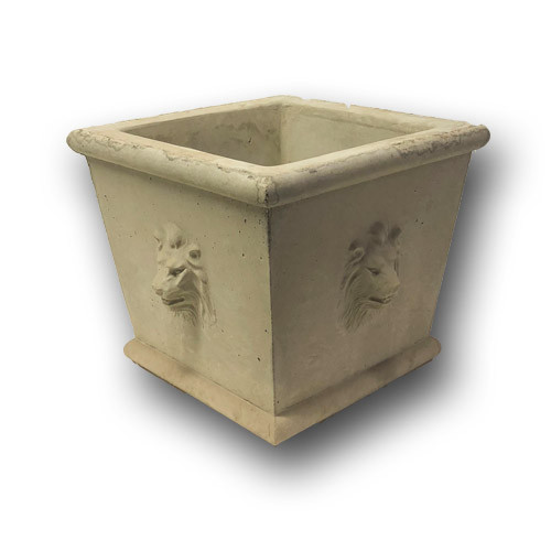 BR-778 Cast Stone Square Lion Concrete Planter