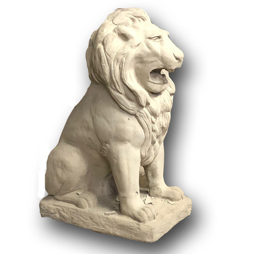 Cast Stone Sitting Lion Sculpture
