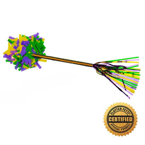 "14"" Mardi Gras Swisher Pom-Pom Filled w/Purple, Green and Yellow Flutter FETTI® Confetti"