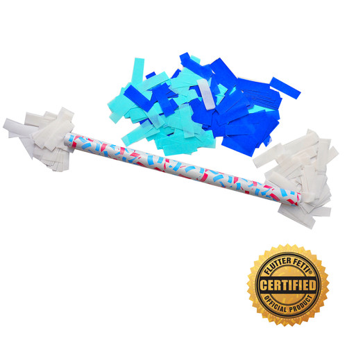 "14"" Baby Boy Gender Reveal Flutter FETTI® Confetti Sticks - Hand Flick Launcher"