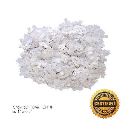 "1 lb Bag of Bulk Snow Cut Tissue (1""x0.5"") Flutter FETTI® Confetti"