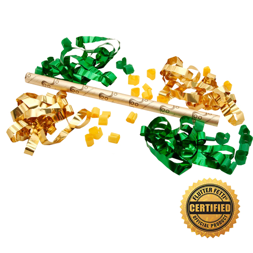 "18"" Airless Flutter FETTI® Confetti Launcher Filled w/Metallic Streamers & Bubbles (Custom Colors) - Hand Flick Launcher"