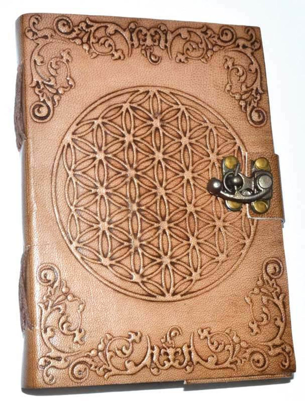 "Flower of Life Embossed Leather Journal w/ latch 5"" x 7"""